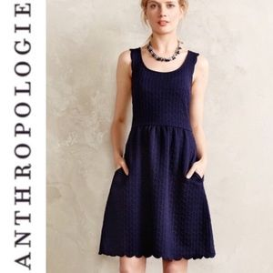 Anthro Maeve Navy Blue Caye Scalloped Dress